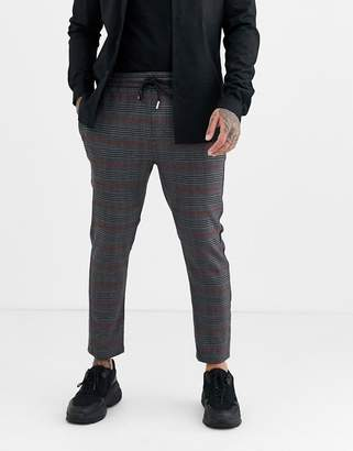 ONLY & SONS elastic waist side stripe check trousers in grey