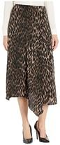 Vince Camuto Asymmetrical Hem Animal Phrases Paneled Skirt (Rich Black) Women's Skirt
