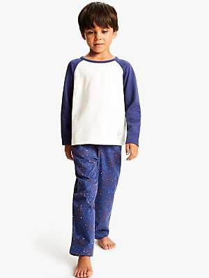 John Lewis & Partners Boys' Dinosaur Galaxy Pyjamas, Dark Blue