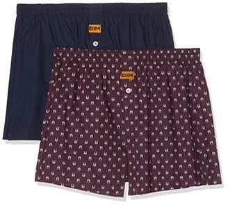 Dim Men's CALEÇON FLOTTANT X2 Boxer Shorts, Multicolour (BLEU Denim/IMPRIMÉ Loup 8NP), M (Size : 3) (Pack of 2)