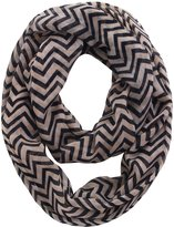 Simplicity Women Infinity Scarf Solid Color w/ Multi Stripe Print, 4531_Blue