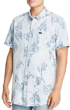 RVCA Dead Flag Short-Sleeve Leaf Print Regular Fit Button-Down Shirt
