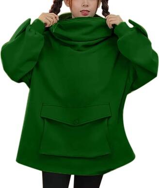 Lemooner Women Novelty Frog Sweatshirt Autumn Winter Long Sleeve Hoodies Sweatshirts Ladies Hoodies Hooded Casual Pullovers Blouse Tops Girl Size 8-16 UK Green