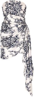 Oscar de la Renta Asymmetric Floral-Print Jersey Mini Dress