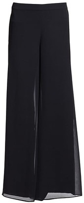 St. John Silk Georgette Wide-Leg Pants