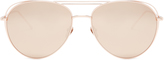 Linda Farrow Aviator rose-gold plated sunglasses