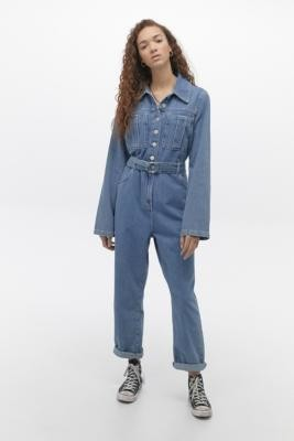 BDG Belted Button-Through Denim Boilersuit - Blue XS at Urban Outfitters