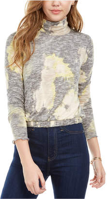 Love, Fire Juniors' Plush Tie Dye Turtleneck Top