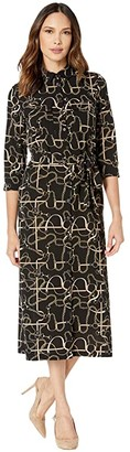 Donna Morgan Status Print 3/4 Sleeve Lightweight Stretch Crepe Collared Shirtdress (Black Status) Women's Dress