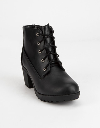 Soda Sunglasses Lace Up Black Girls Leather Boot