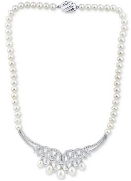 "Arabella Cultured Freshwater Pearl (6-8-1/2mm) & Swarovski Zirconia 17"" Statement Necklace in Sterling Silver"