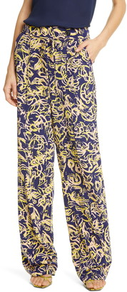 Diane von Furstenberg Sonia Stretch Silk Wide Leg Pants