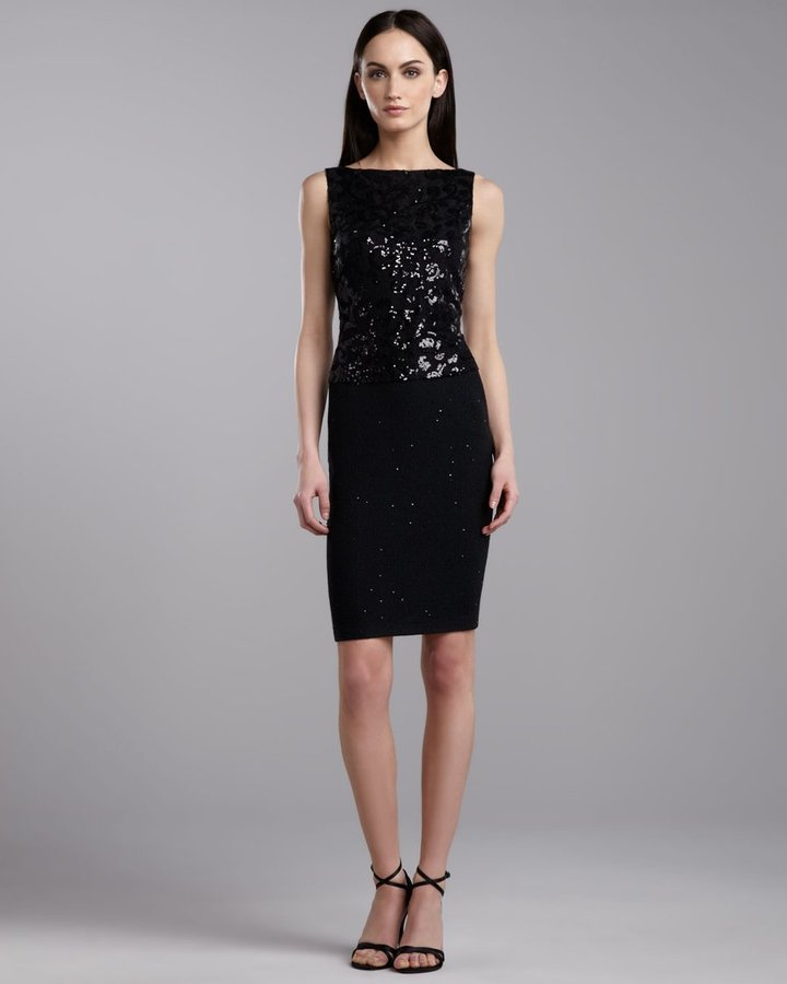 St. John Sequin Knit Sleeveless Dress, Caviar