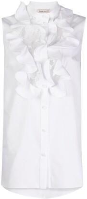 Alexander McQueen collarless ruffled blouse