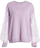 ADAM by Adam Lippes Lace-Sleeve Merino Wool Sweater