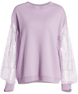 Adam Lippes Lace-Sleeve Merino Wool Sweater