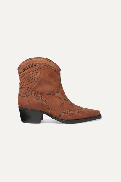 9da7cb8902e Low Texas Embroidered Suede Ankle Boots - Brown