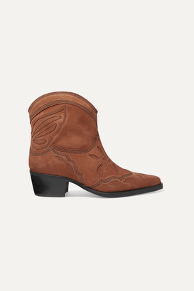 Ganni Low Texas Embroidered Suede Ankle Boots - Brown