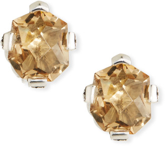 Stephen Dweck Champagne Quartz Freeform Stud Earrings