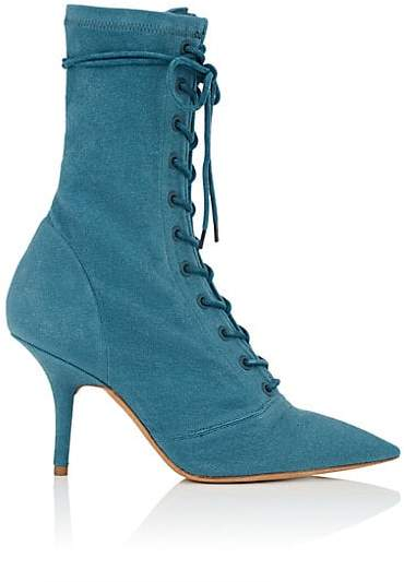 Yeezy Women's Canvas Lace-Up Ankle Boots - Blue