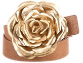 Valentino Leather Flower-Accented Belt