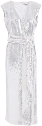Badgley Mischka Wrap-effect Sequined Jersey Midi Dress