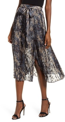 J.o.a. Tie Waist Pleated Midi Skirt