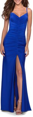 La Femme V-Neck Front Slit Ruched Jersey Gown