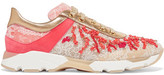 Rene Caovilla Embellished Leather And Lace Sneakers