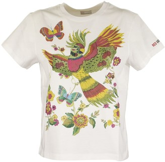 RED Valentino Flower And Parrot Print T-shirt