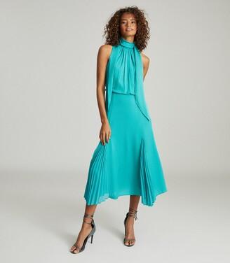 Reiss Jenna - Neck-tie Detail Midi Dress in Teal