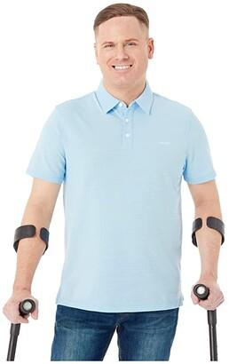 Calvin Klein Short Sleeve Single Dye Space Dye Polo (Cerulean) Men's Clothing