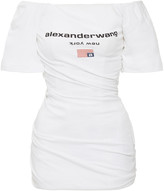 Alexander Wang Twisted Off-The-Shoulder Cotton T-Shirt Dress