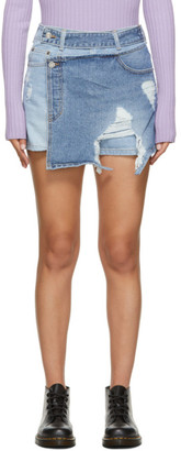 Sjyp Blue Contrast Denim Shorts