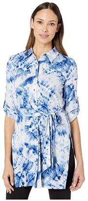 Calvin Klein Printed Roll Sleeve Tunic (Soft White Combo) Women's T Shirt