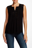 Daniel Rainn Sleeveless Lace Yoke Gauze Blouse (Petite)