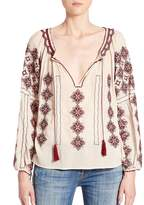 Love Sam Women's Embroidered Peasant Top