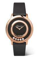 Chopard Happy Diamonds 32 Satin, 18-karat Rose Gold, Onyx And Diamond Watch