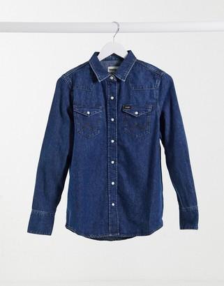 Wrangler denim shirt in mid wash