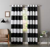 2 Piece 84 Inch Black White Rugby Stripes Curtains Pair Panel Set, White Drapes Cabana Striped Pattern Window Treatments, Nautical Sports Themed Horizontal Lines Design, Kids Teen Polyester