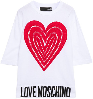 Love Moschino Jacquard-trimmed Embroidered Cotton Top