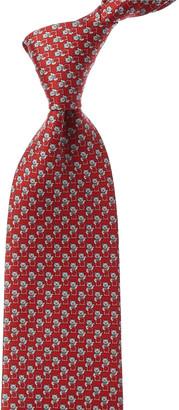 Salvatore Ferragamo Red Cats Silk Tie