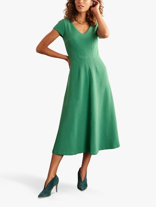 Boden Belle V-Neck Ottoman Midi Dress