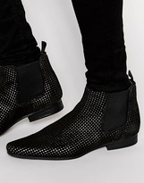 Asos Chelsea Boots In Black Suede With Gold Perforation