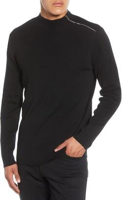 Karl Lagerfeld Paris Shoulder Zip Cotton Blend Sweater
