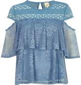 River Island Womens Blue lace frill button detail top