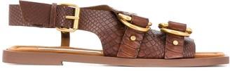 Stella McCartney Snakeskin Effect Flat Sandals
