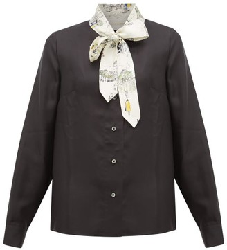 La Prestic Ouiston Montin Pussy-bow Silk-twill Blouse - Black Multi