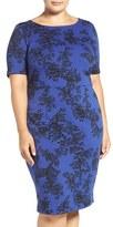 Vince Camuto Plus Size Women's 'Delicate Foliage' Print Sheath Dress