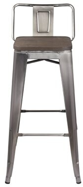 "Williston Forge Mcsweeney Low Back 30"" Bar Stool Seat Color: Dark Wood"